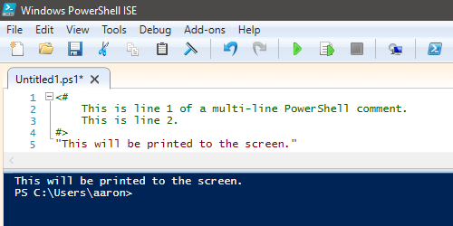 PowerShell Multi-line Comment example.