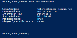 Test-NetConnection results.
