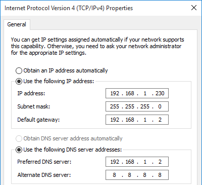Windows network ipv4 properties.
