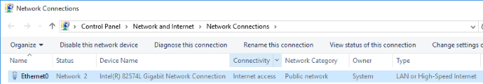 Windows 10 network connections screenshot.