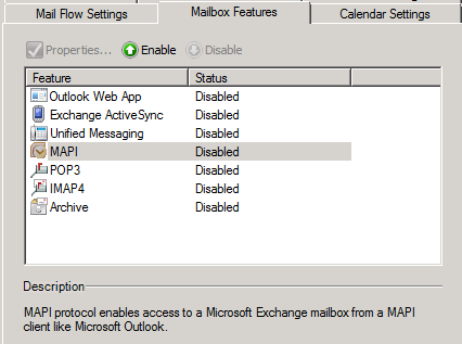 Exchange Mailbox MAPI disabled.