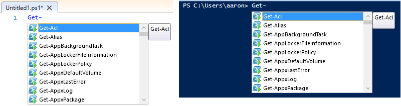 Windows PowerShell ISE Intellisense examples.