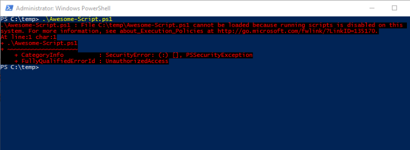 PowerShell Execution Policy Error